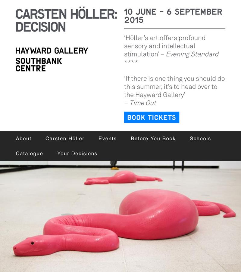 "Photo courtesy of  Hayward Gallery, Southbank Centre for ""Carsten Höller : Decision"""