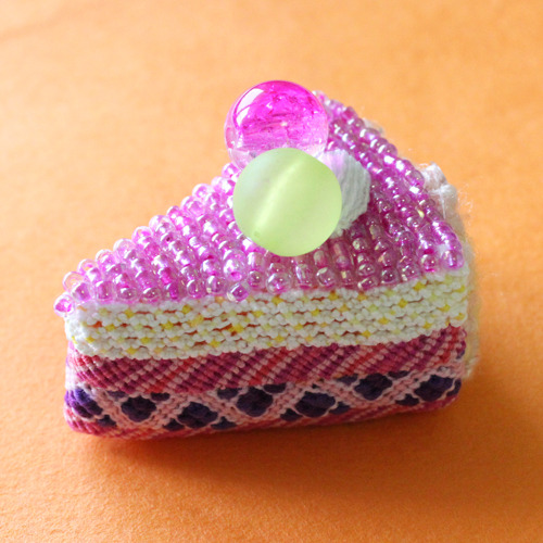 handmade beaded knitted melon cake.jpg