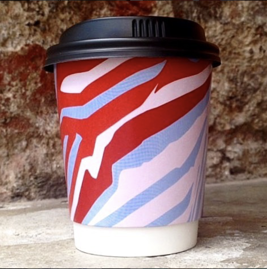 red and pink striped coffee cups