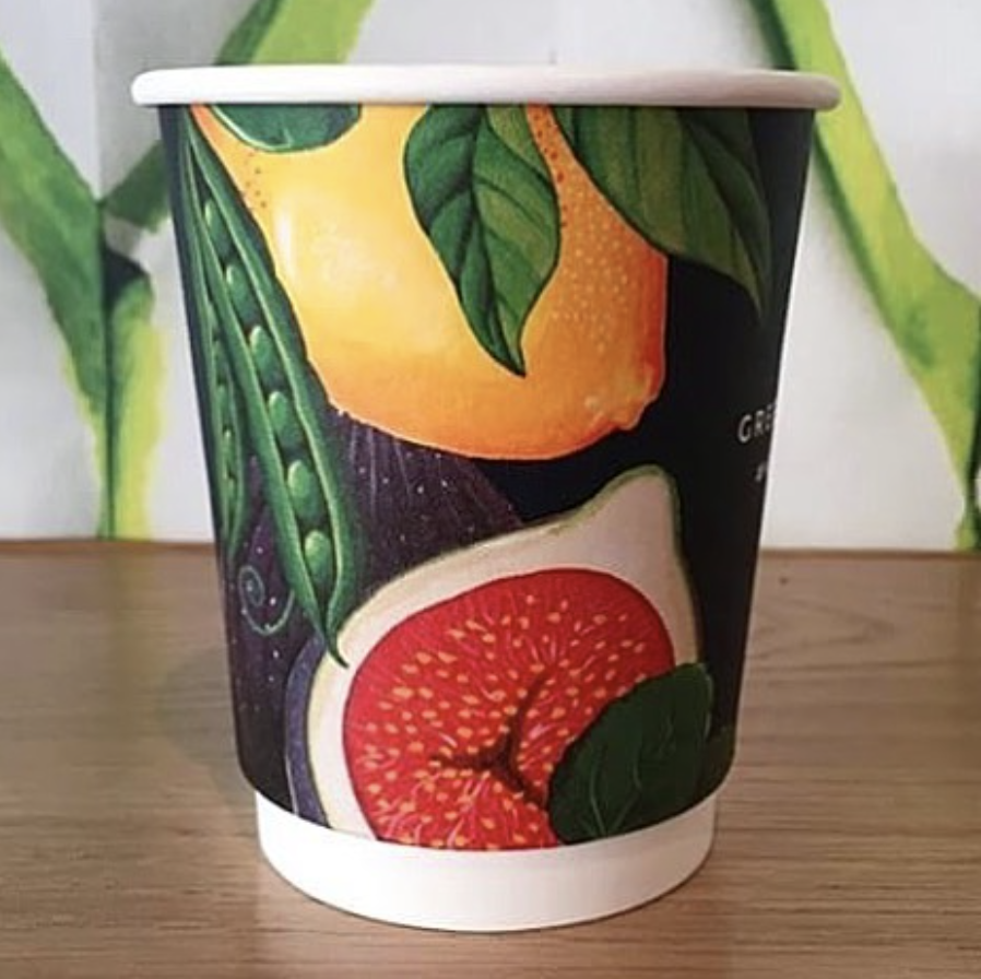 illustrated fruit and veg coffee cup