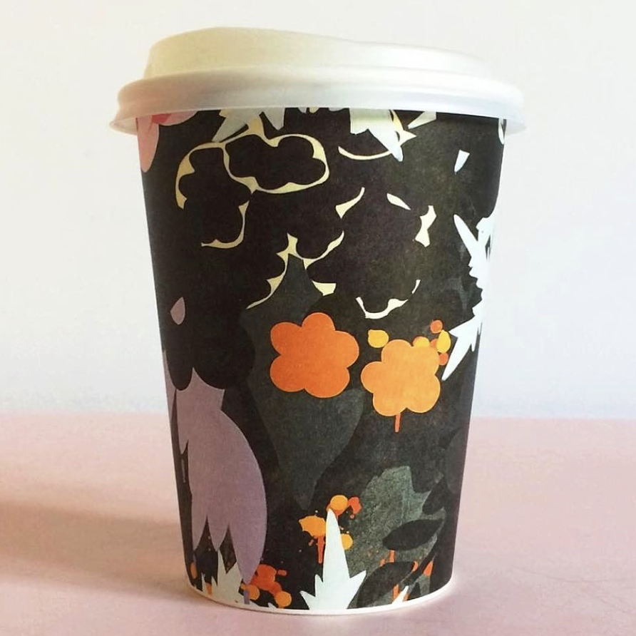 floral forest pattern cups
