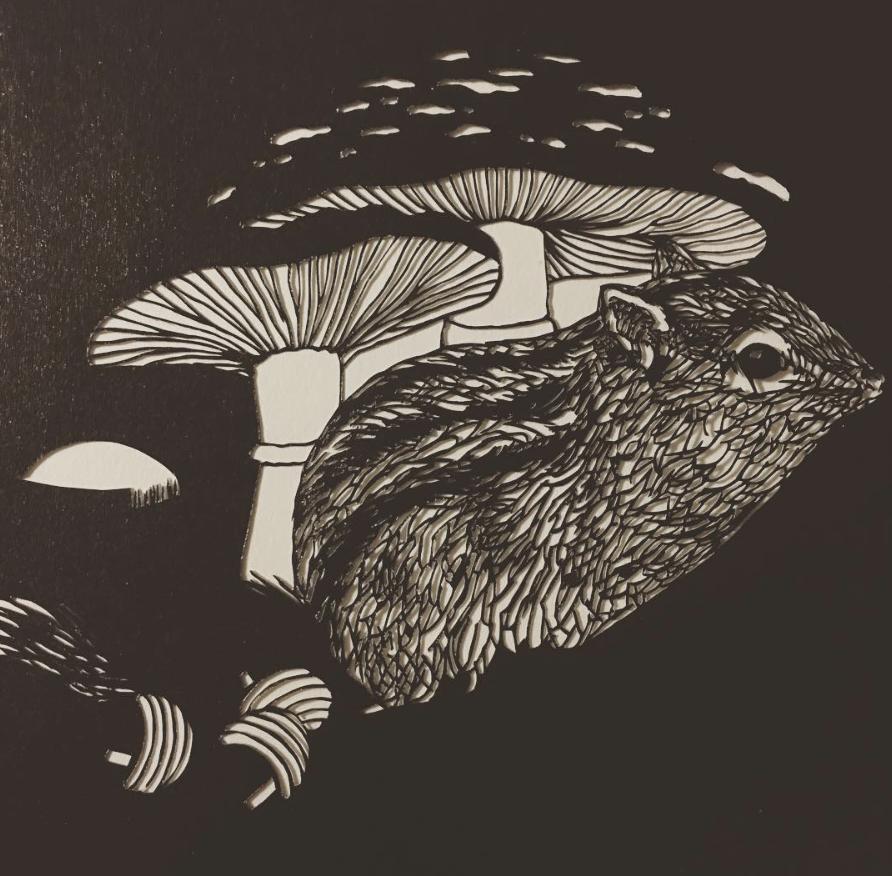 Ise-katagami fine mushroom wildlife papercut