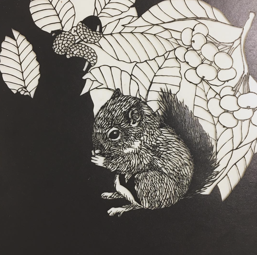 squirrel fine paper cut