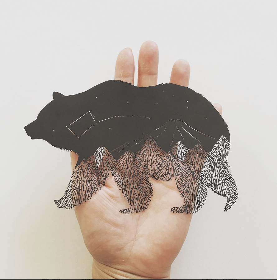 bear wildlife paper cut