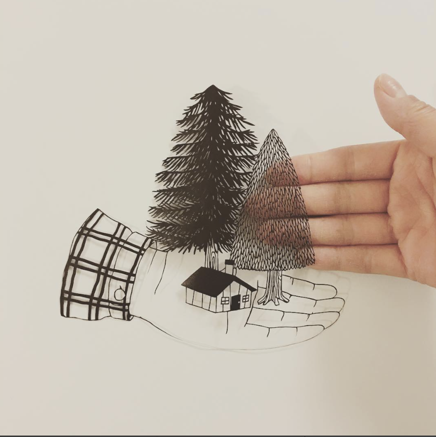 cabin wildlife nature papercut