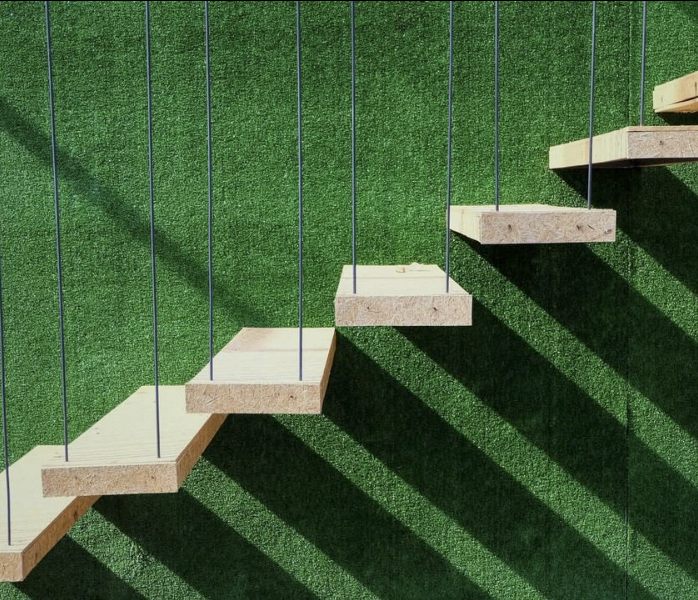 Green Astroturf Hanging Staircases