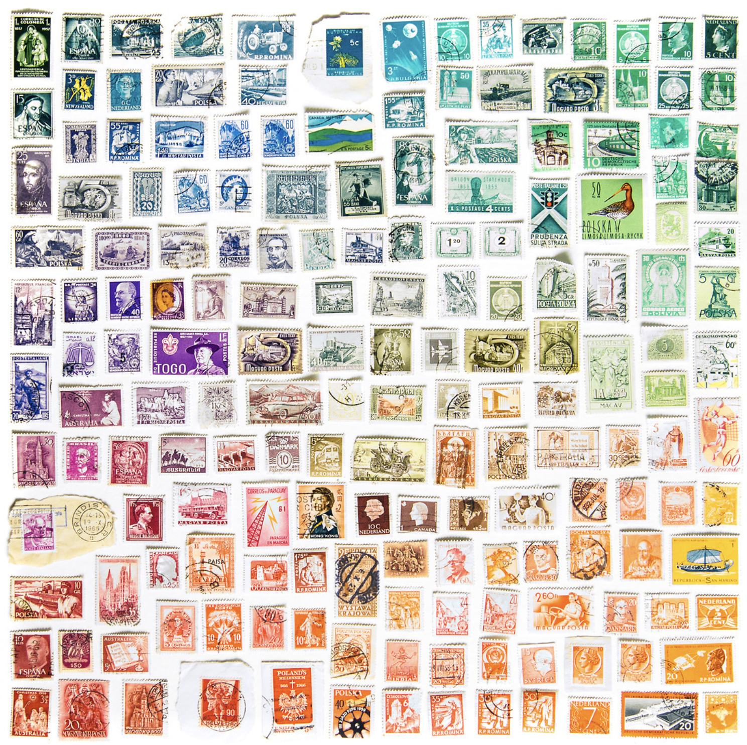 postage stamps in rainbow colour palette