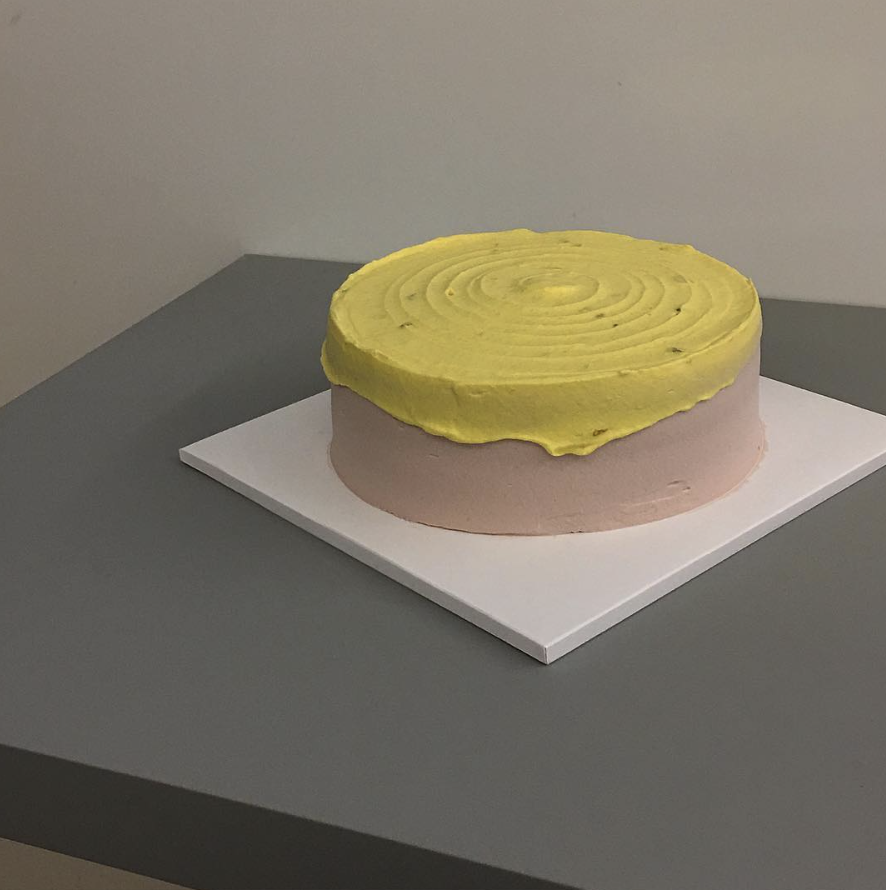 yellow and pink pastel cake