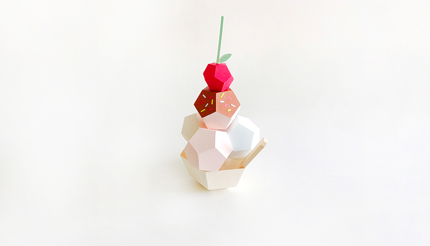 ice cream sundae paper sculpture