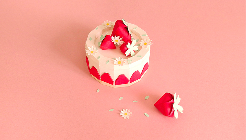 strawberry fraise cake paper sculpture