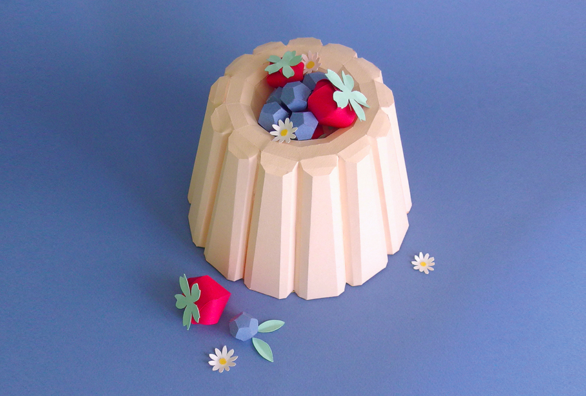 british summer fruits pudding paper sculpture