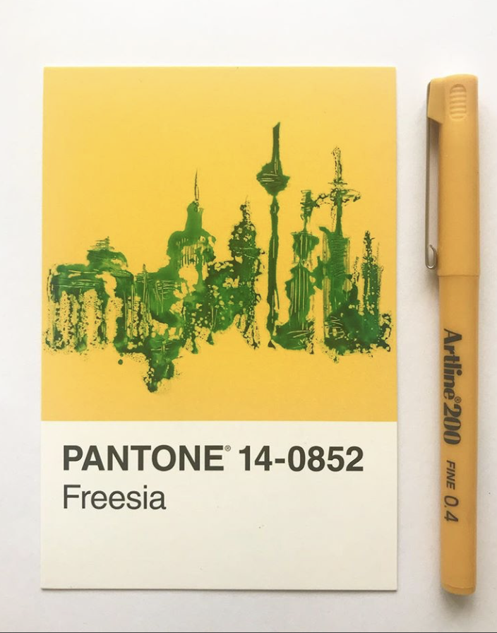 pantone freesia cityscape illustration