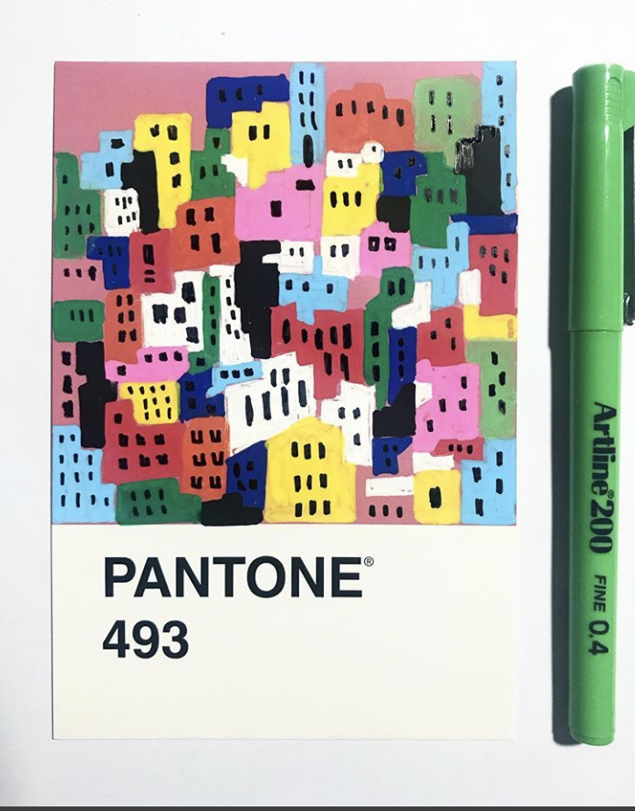 pantone 493 cityscape illustration