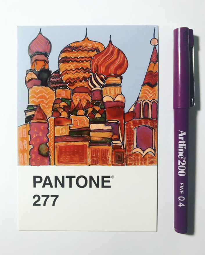pantone 277 moscow cityscape illustration