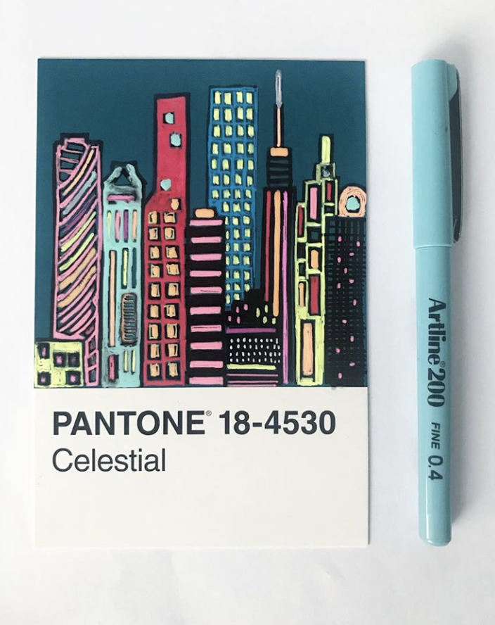 pantone celestial buildings architecture illustration project
