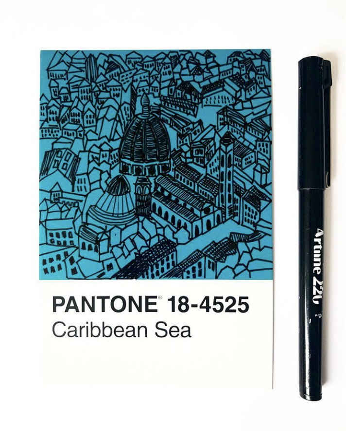 pantone carribean sea illustration cityscapes project