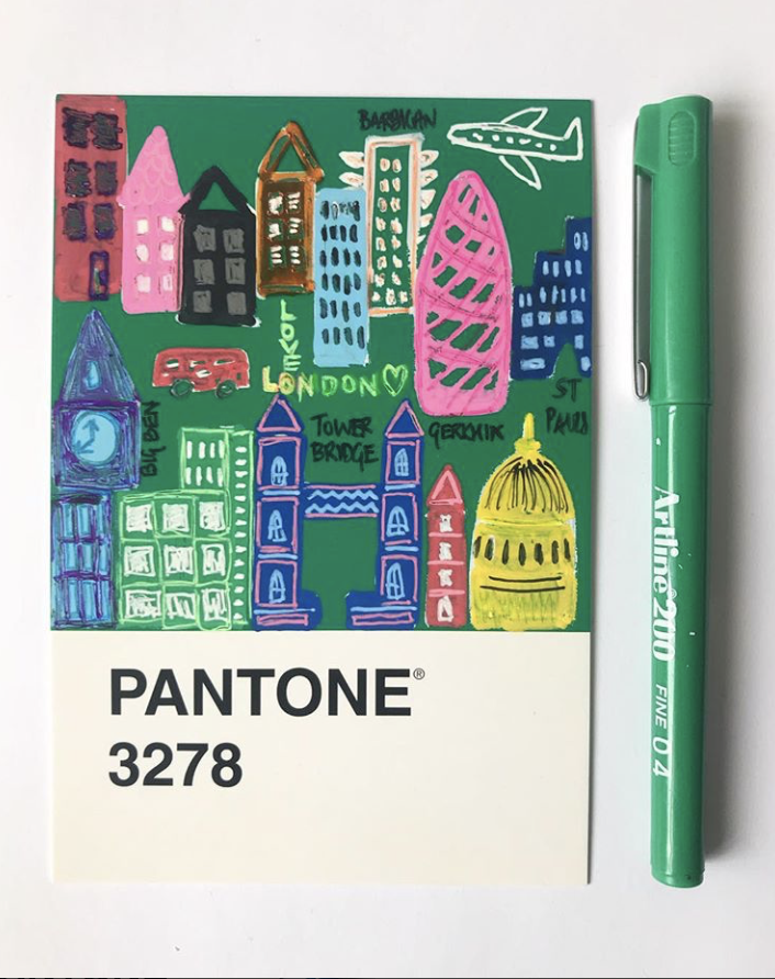 pantone 3278 london illustration artline pen