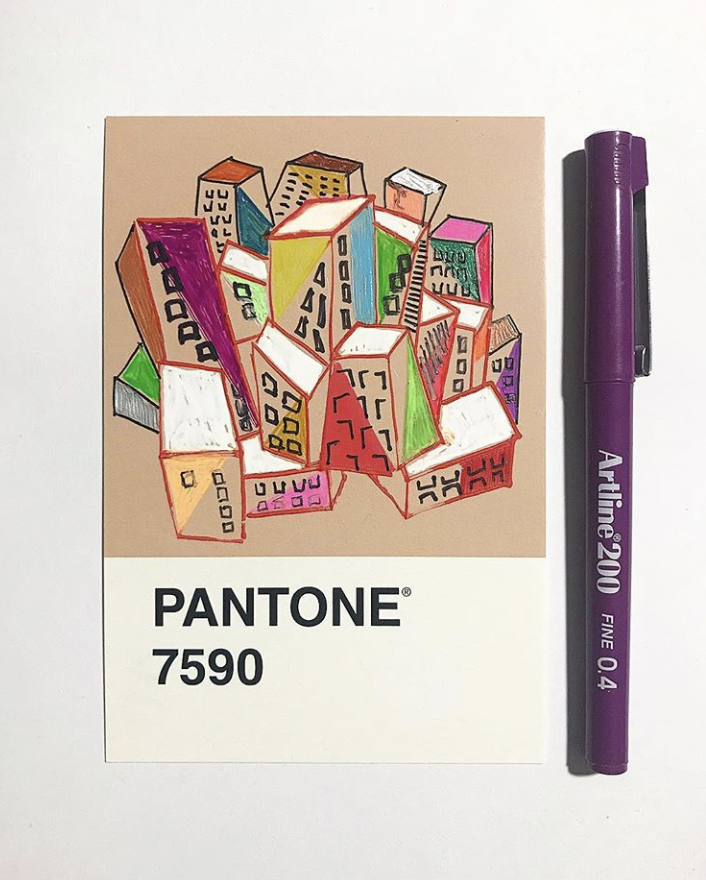 pantone 7590 illustration cityscapes project