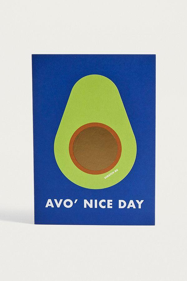Avocado Pun Avo Nice Day Scratch Off Greeting Card