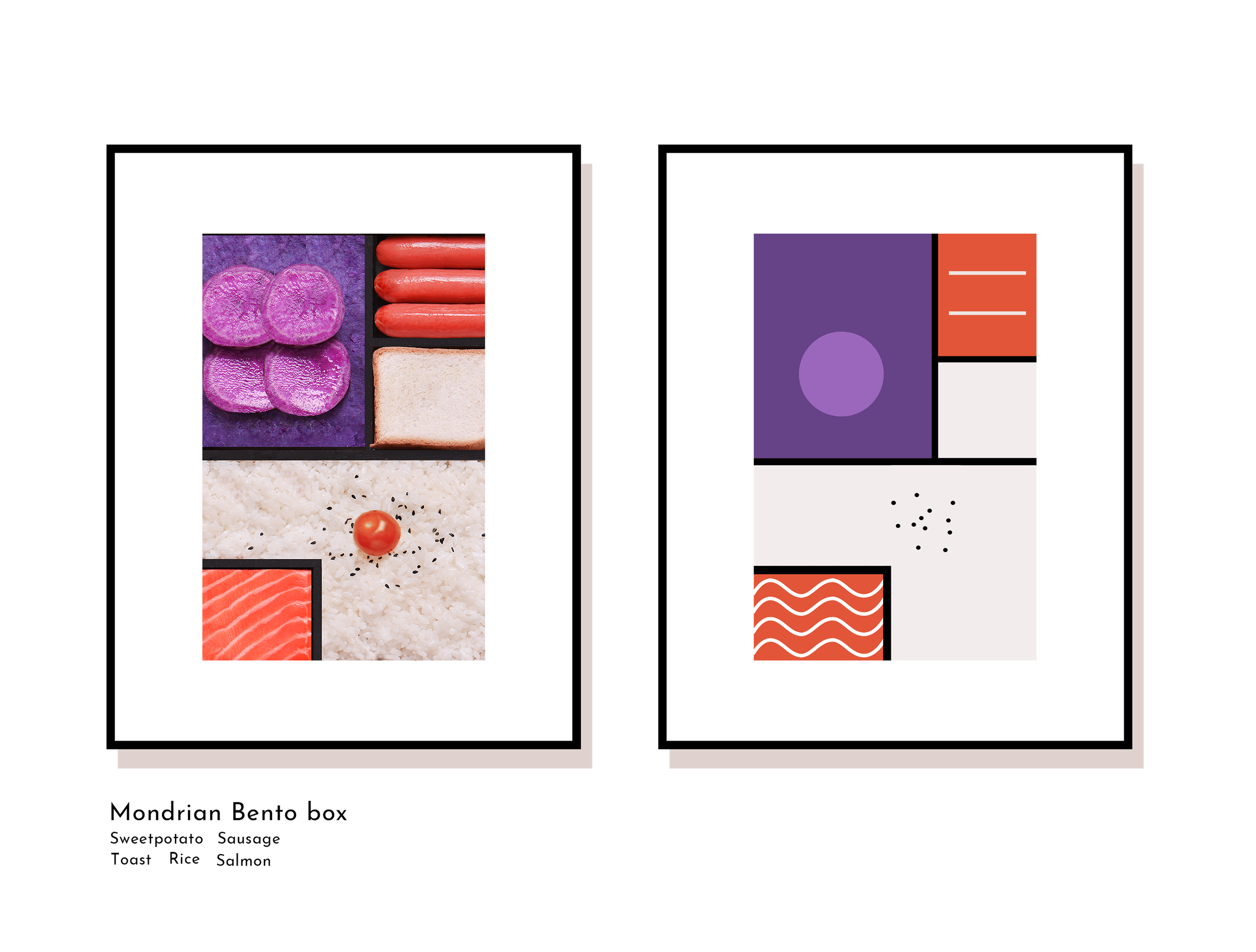 Mondrian art print in photography vs in graphic design print format