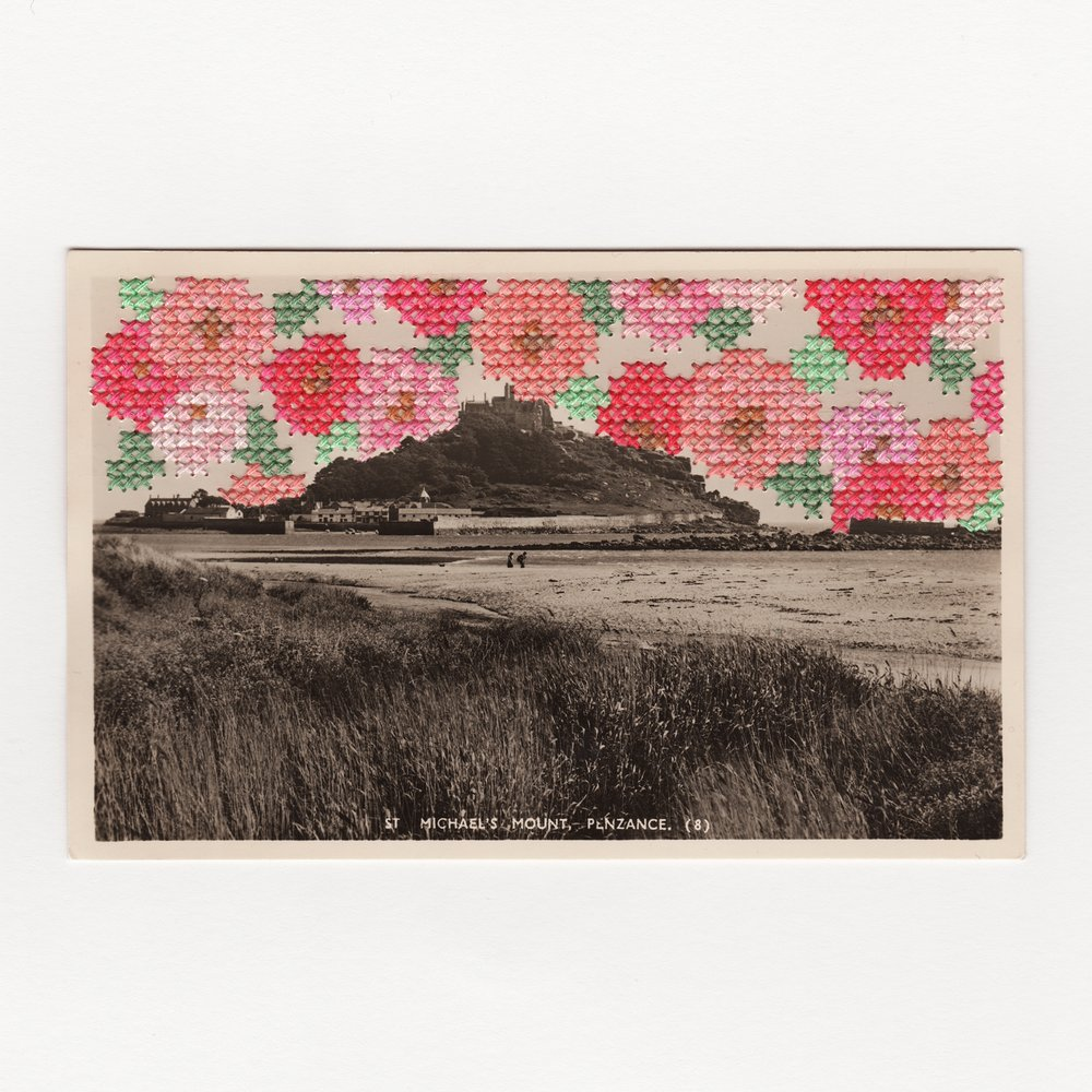 St Michael Mount Penzance Vintage Postcard Embroidery Francesca Colussi.jpg