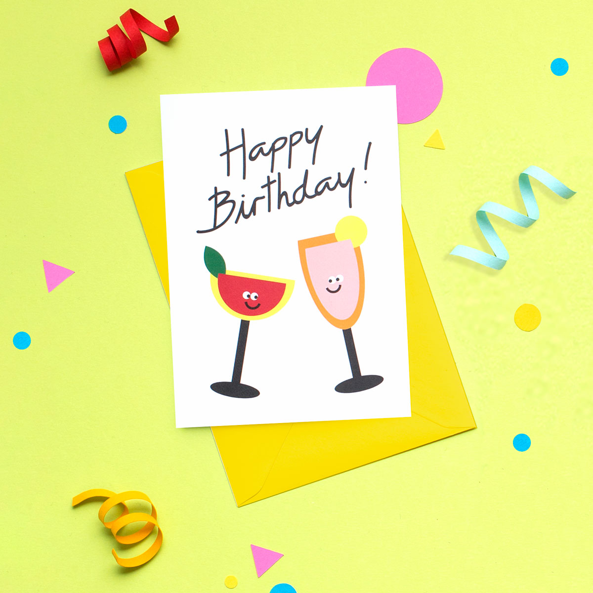 Funny Martini And Champagne Cocktails Happy Birthday Card I Am A