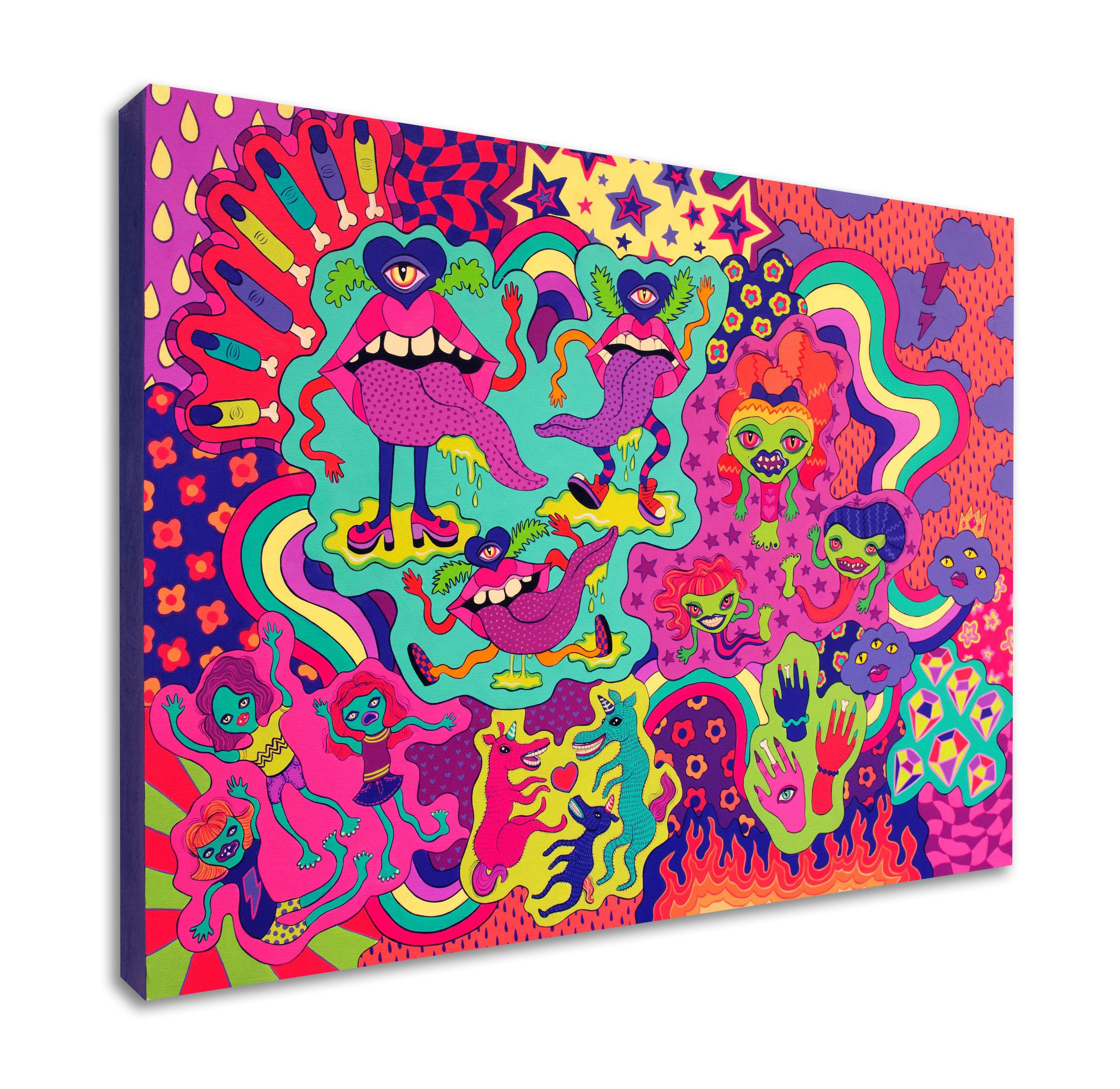 Taste the Rainbow , acrylic on wood panel, 18 x 24 in., 2017
