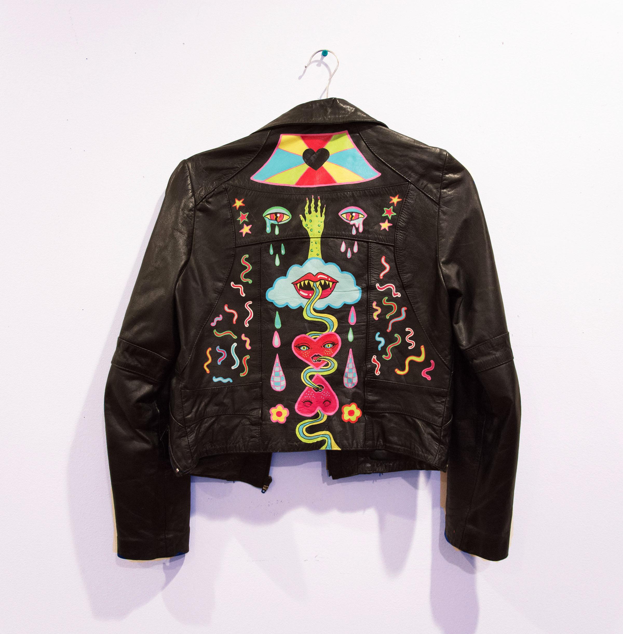 Hot Rod Jacket , acrylic on leather, xs, 2017