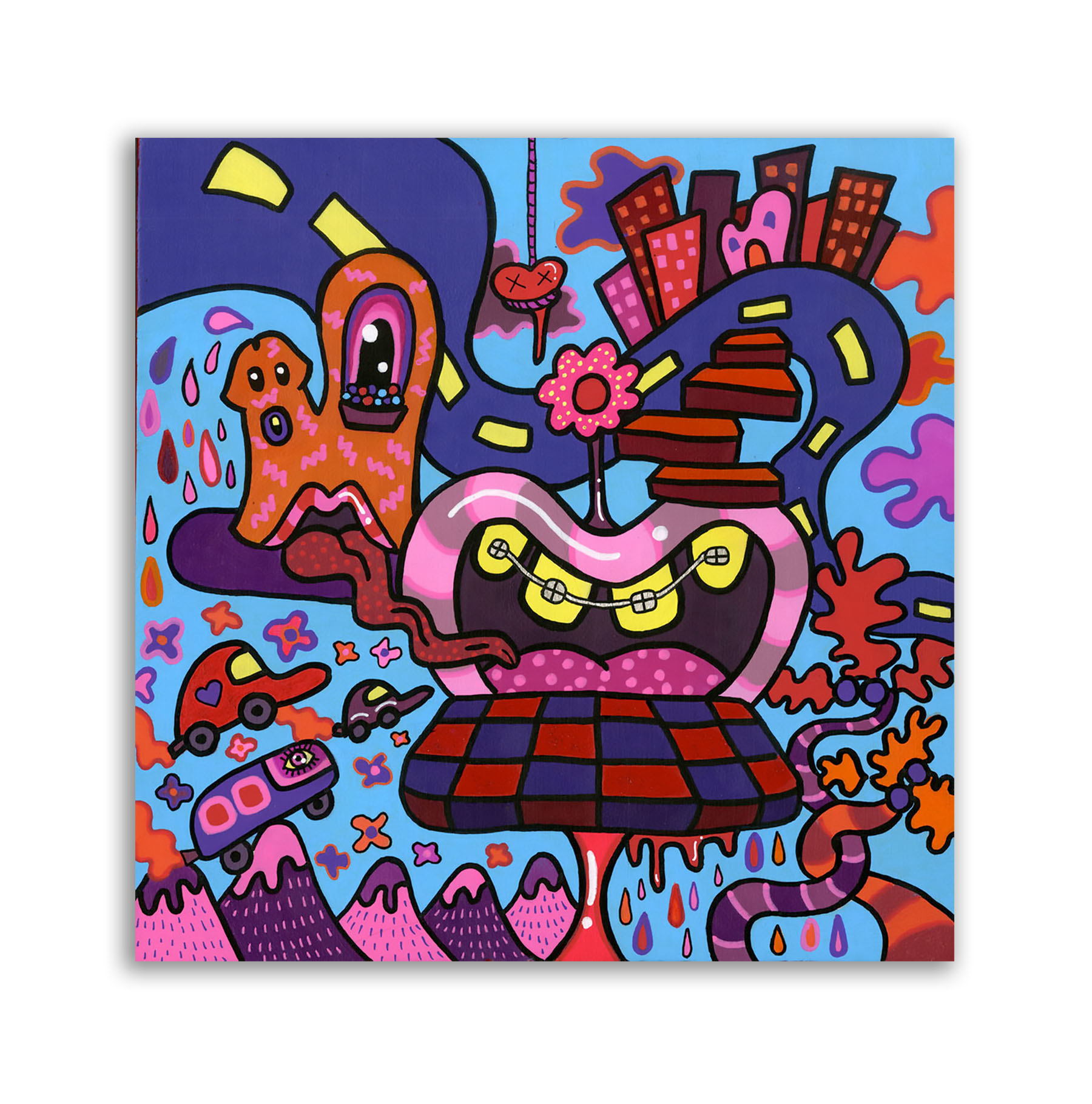 Funky Town,  acrylic on wood panel, 10 x 10 in., 2015