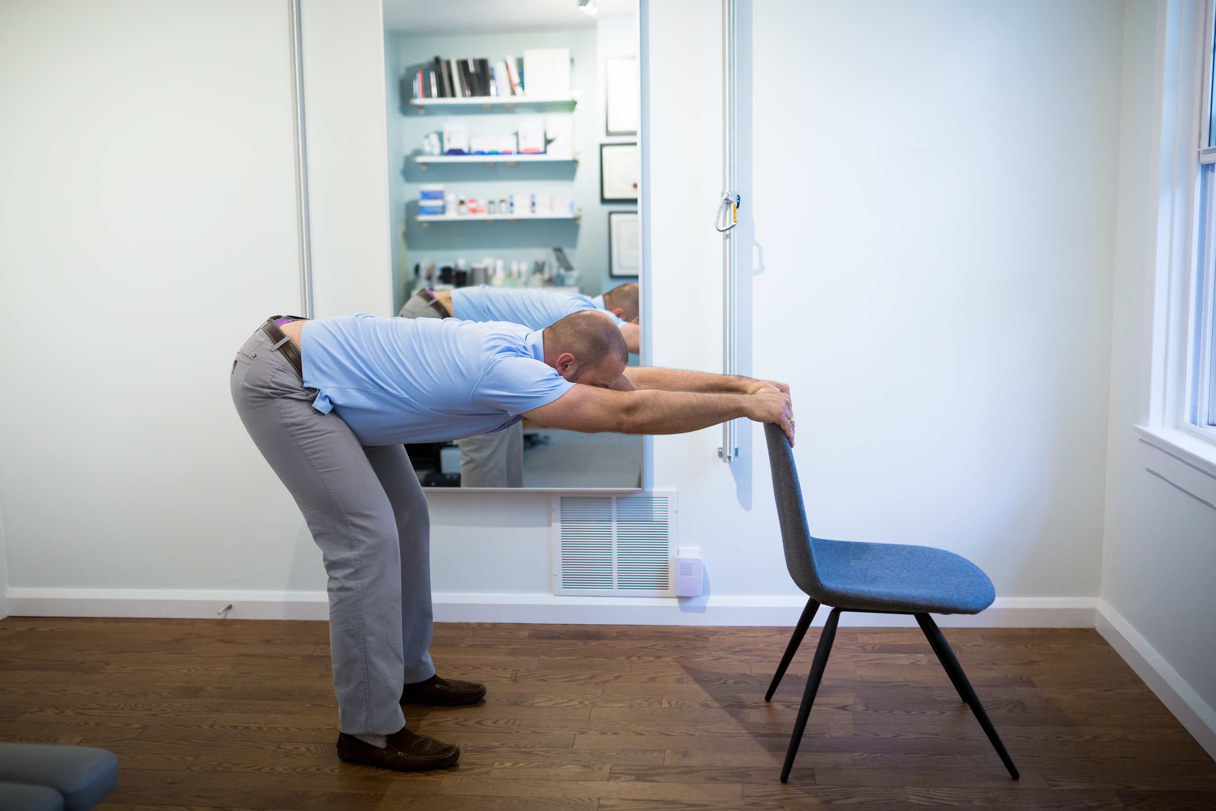 STEP 4:  As you take a deep breath in, push your chest and belly towards the floor. Rest here for a moment and then return to Step 3. Repeat for a few minutes.
