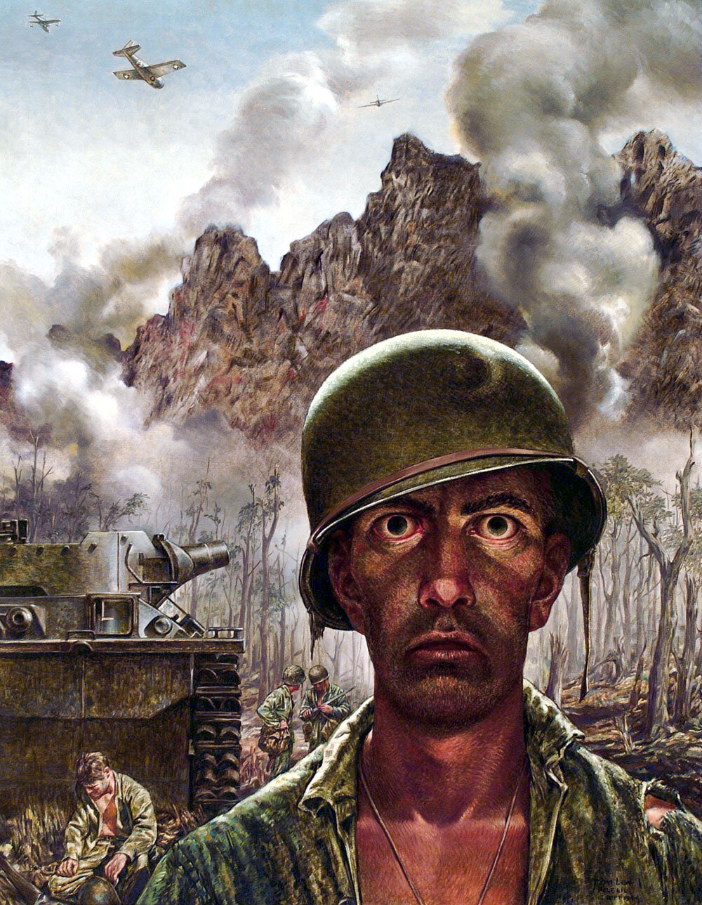 """That 2,000 Yard Stare,""  Tom Lea, WWII, 1944 (US ARMY)"