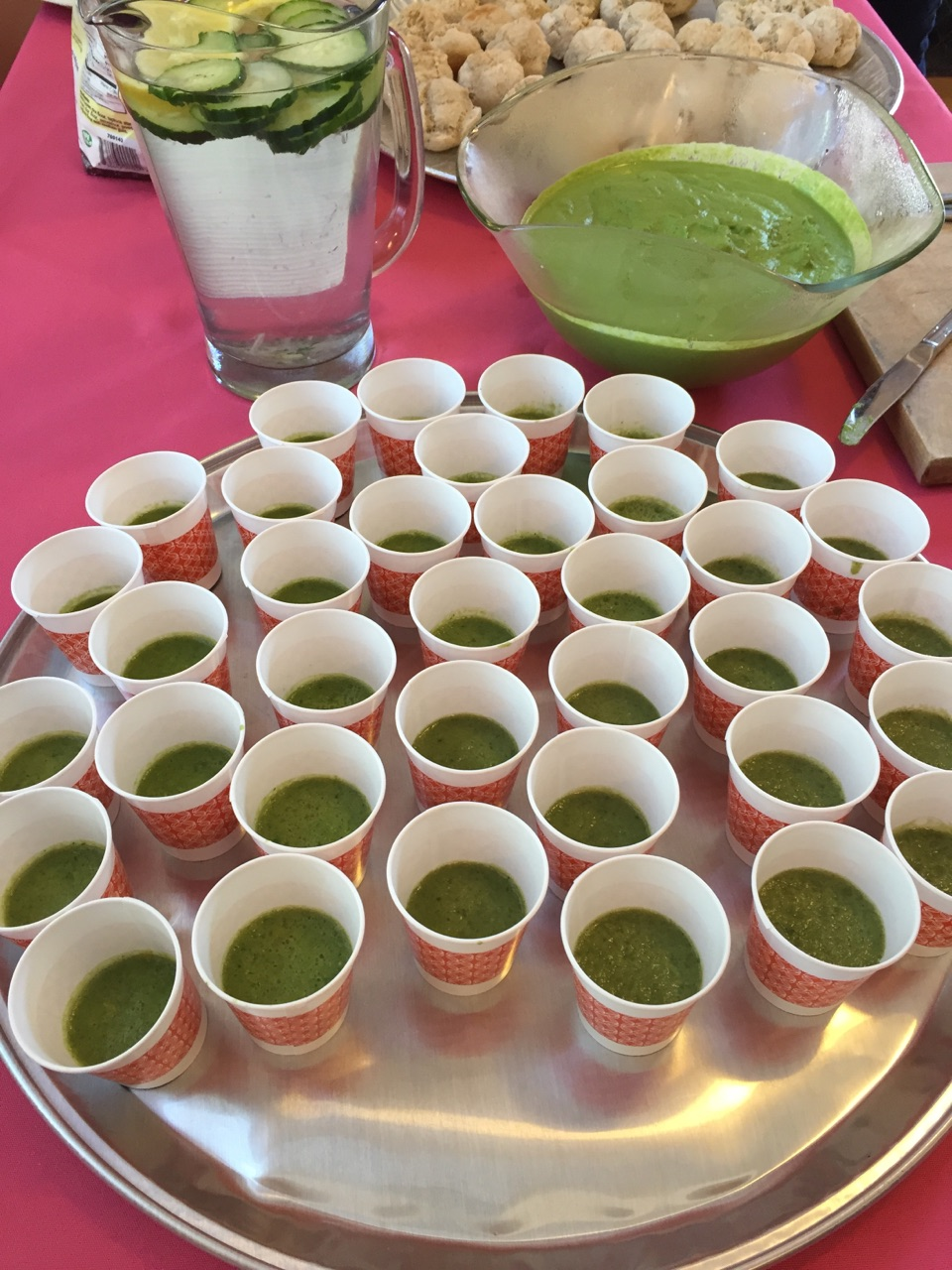 Samples of shared recipes included green smoothies, parsley dip and gluten-free yeast rolls we're served and savored by all who attended.