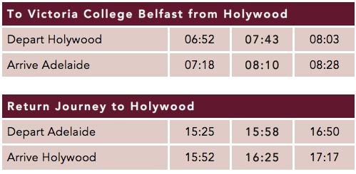 Holywood Timetable