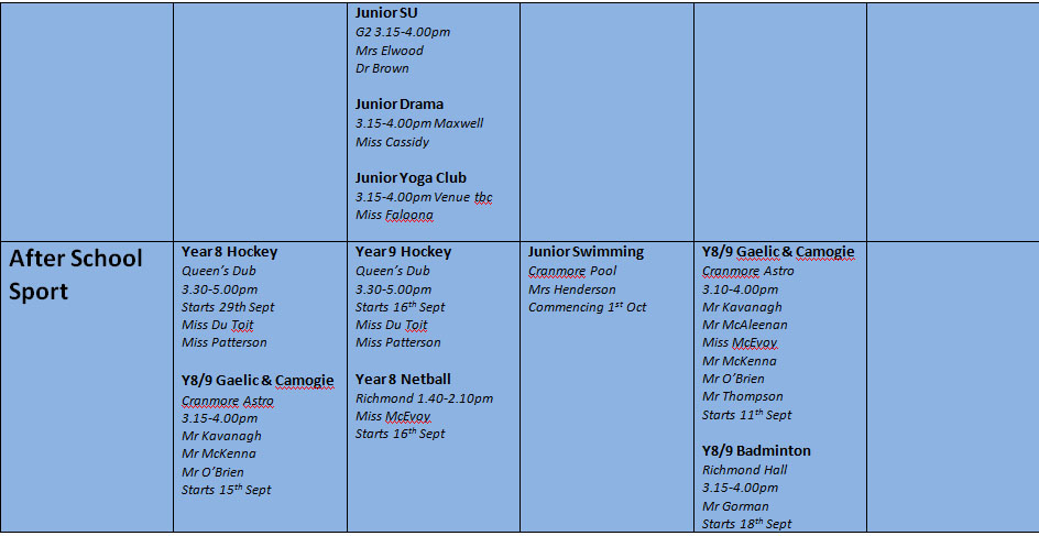 Junior extra curricular programme continued