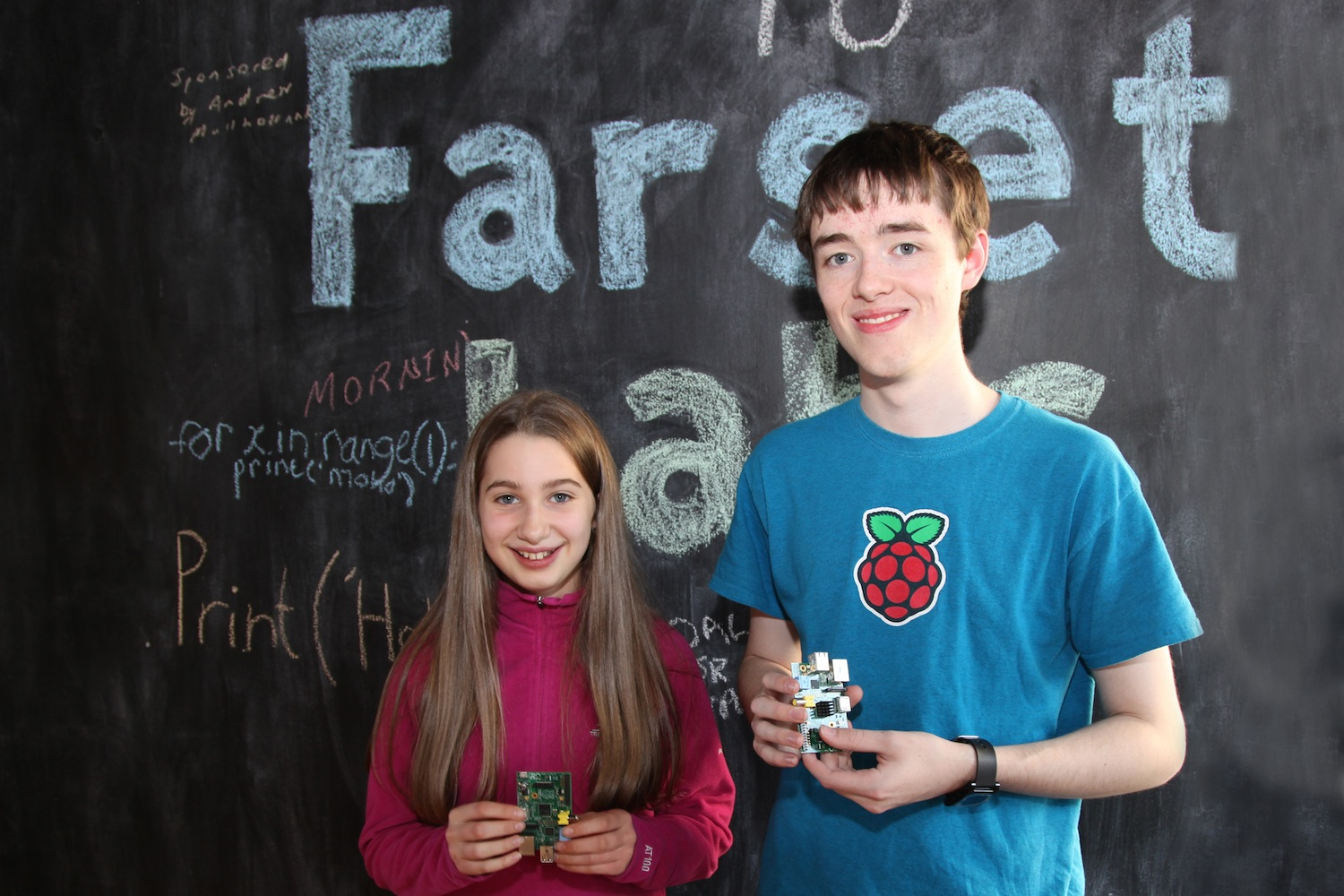 Digital Hero Andrew Mulholland and Katie with their Raspberry Pi computers