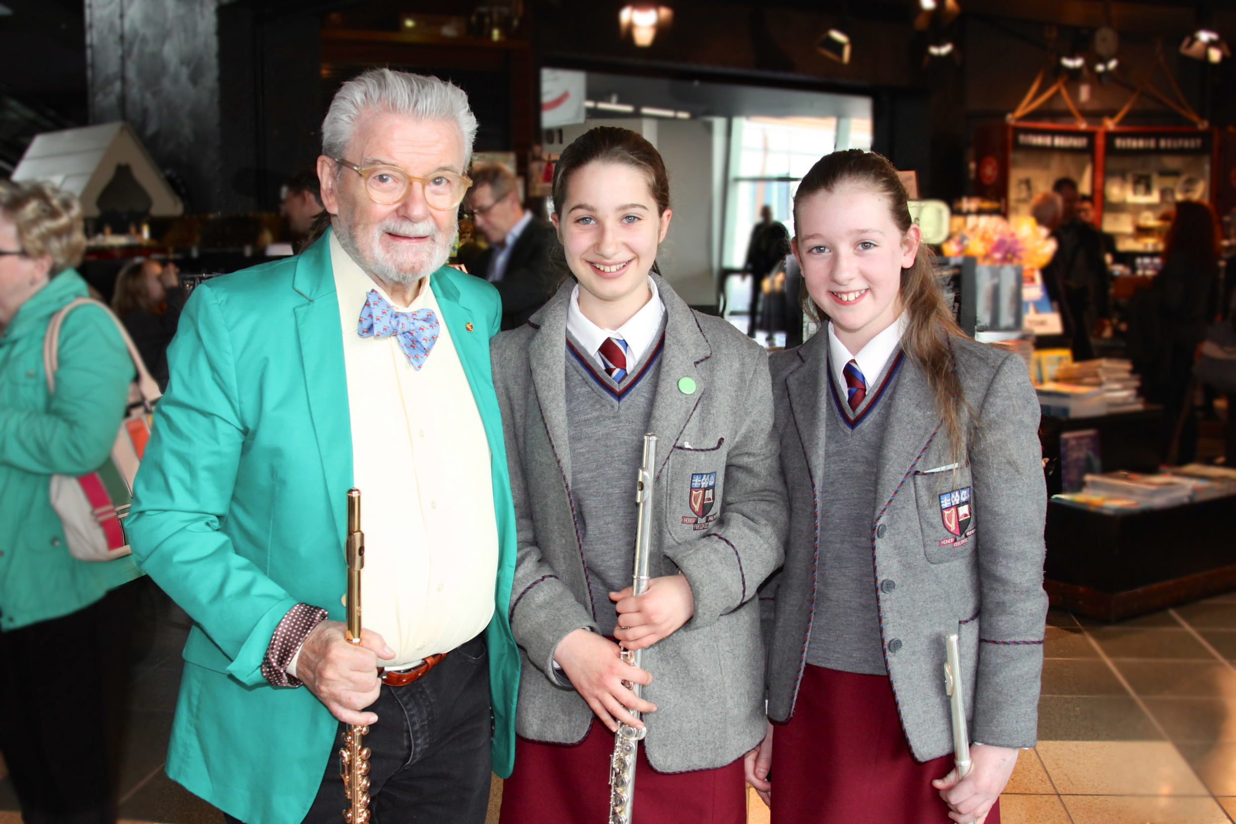 Sir James Galway with Katie and Isabel at Titanic Belfast