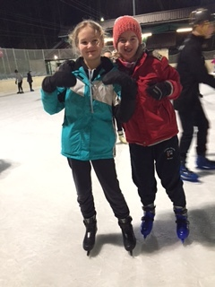 Hannah and Anna enjoying ice skating