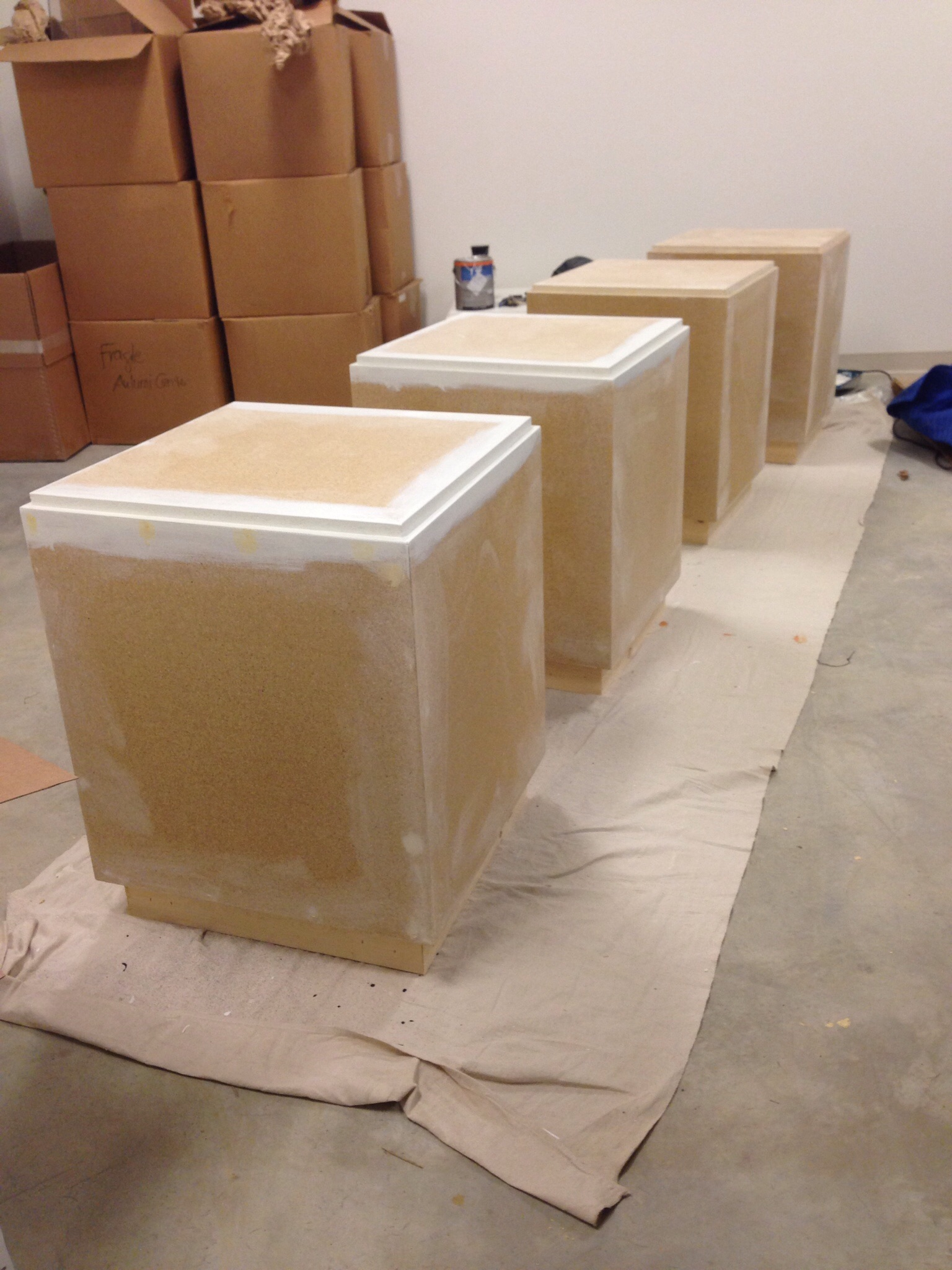 Fresh pedestals waiting for a coat of paint.