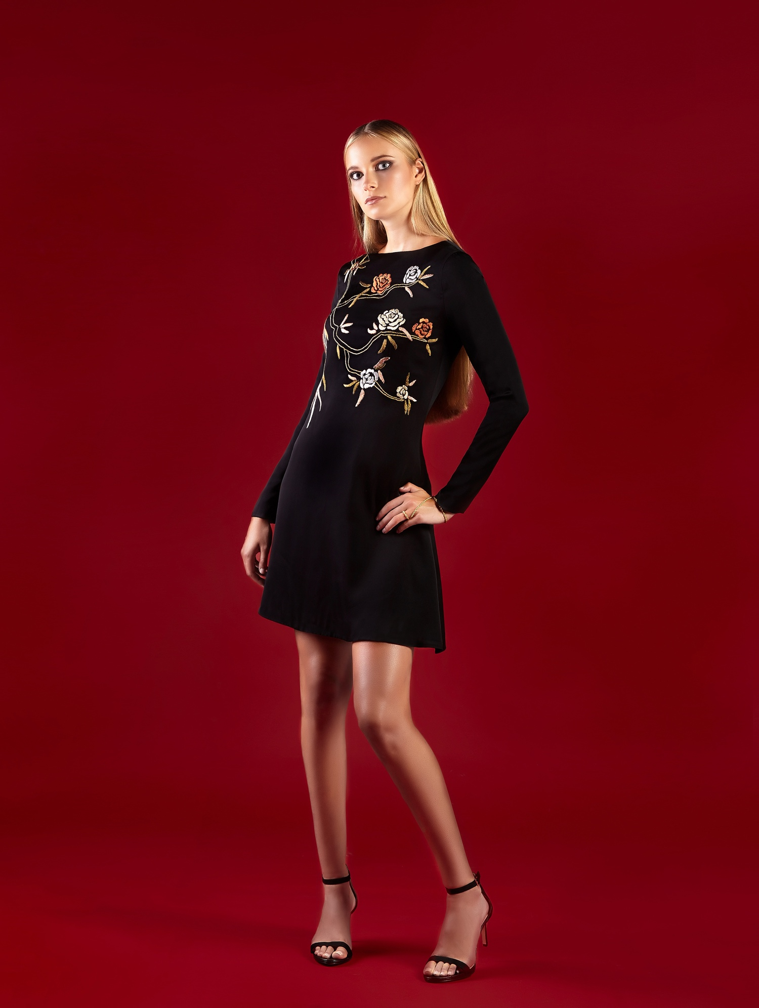MULTI-FLORAL STRETCH DOUBLE GEORGETTE A-LINE DRESS