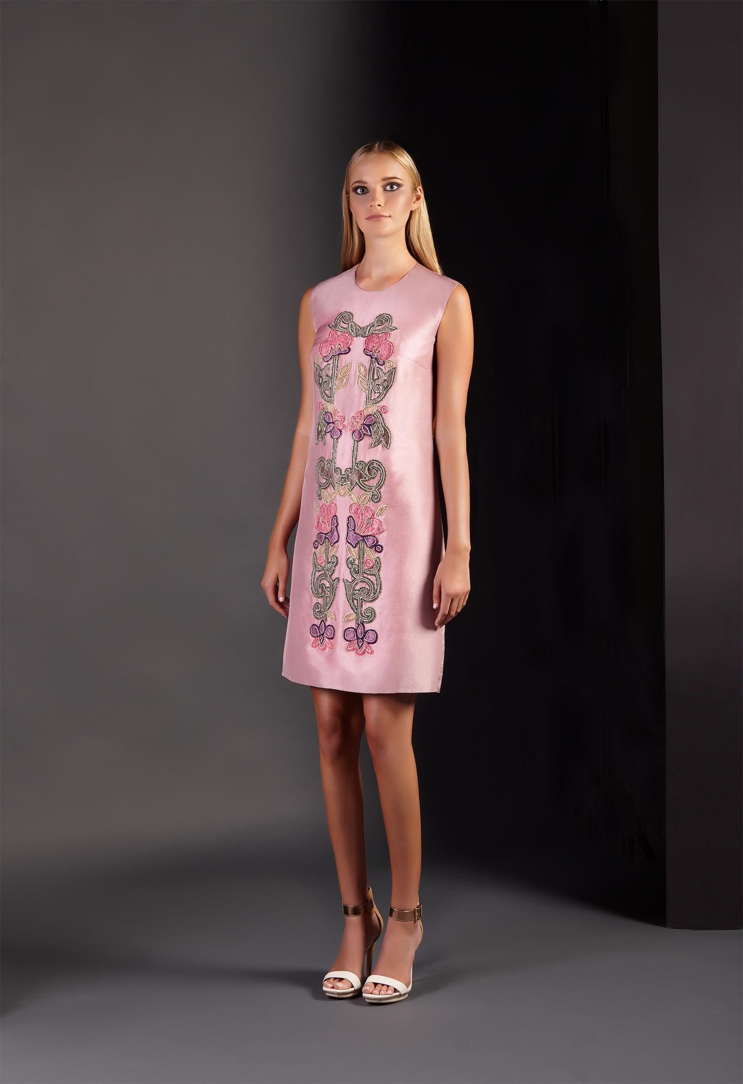 Silk Floral Embellished Appliqué Shift Dress