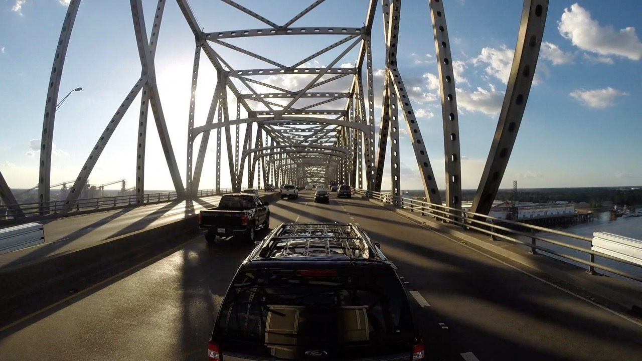 Crossing the Mississippi River on the   Horace Wilkinson Bridge .