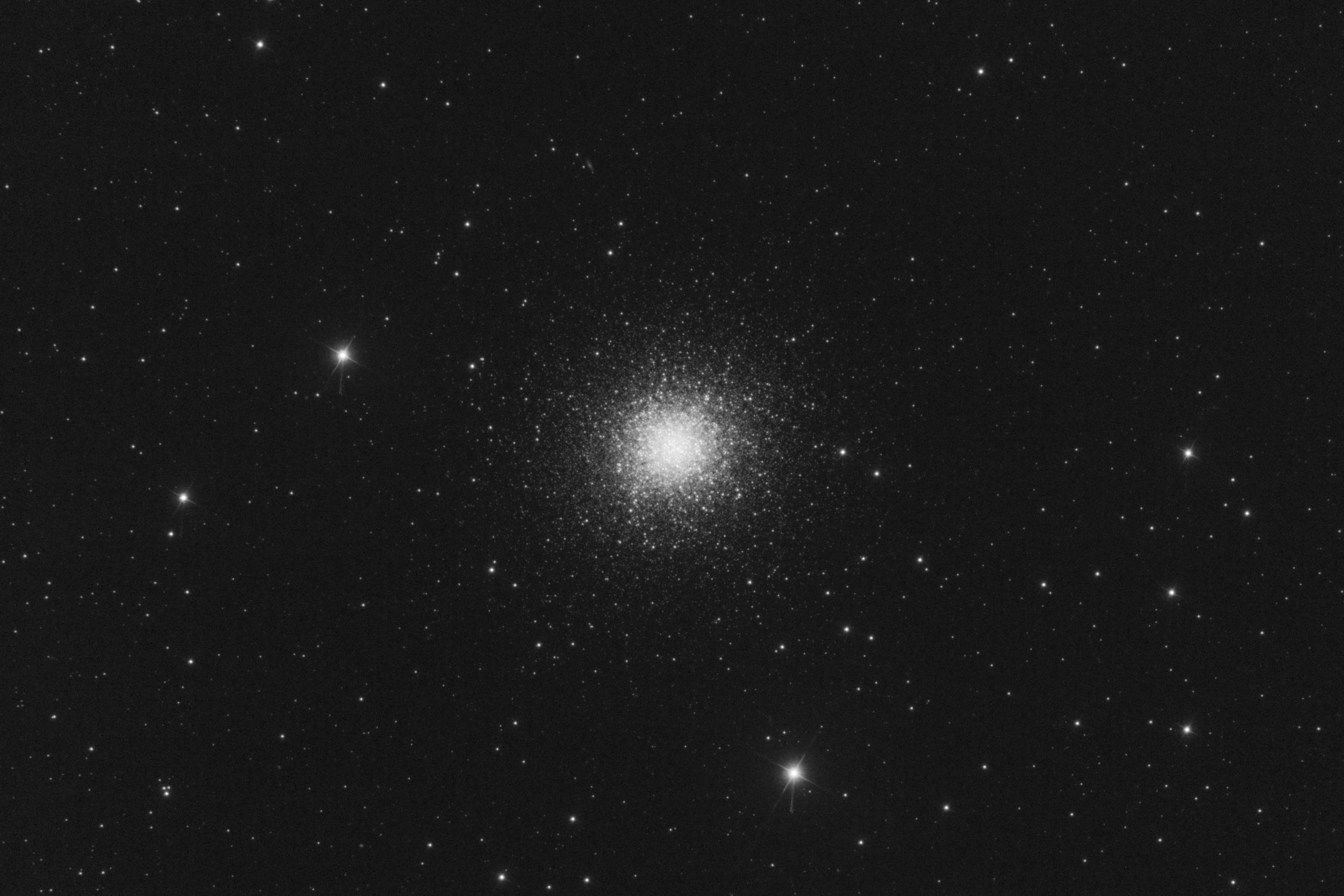 We tried to get some data on  Messier 13 (The Hercules Globular Cluster)  but we were only able to get this one ten minute exposure with the blue filter.