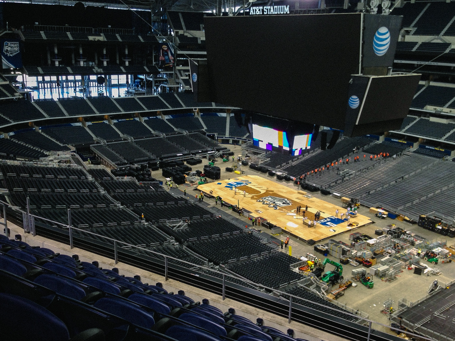 At AT&T Stadium, the Final Four floor is born.