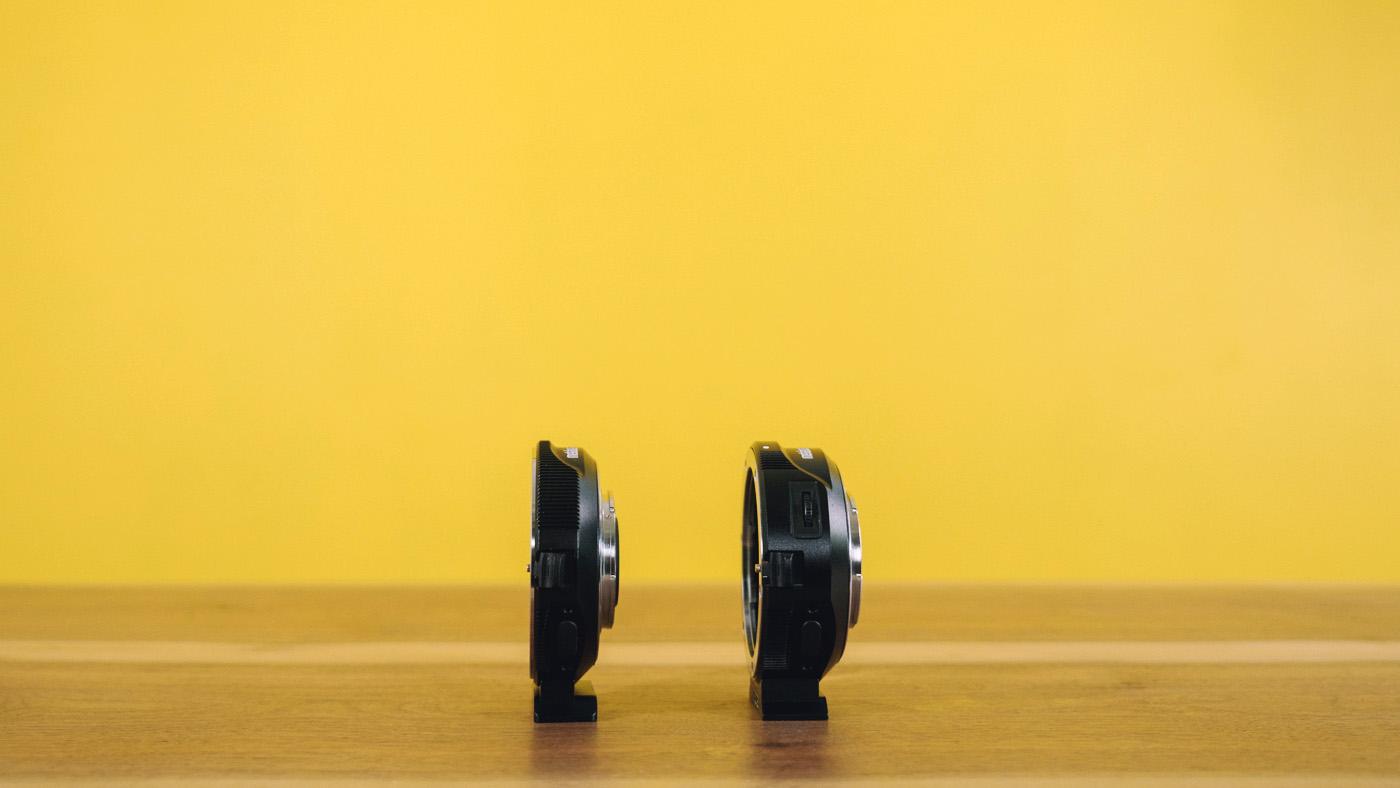 Left: Metabones Speed Booster. Right: Metabones Smart Adapter.