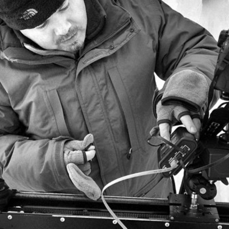 Mike adjusting the  Kessler Second Shooter  in subzero temperatures.
