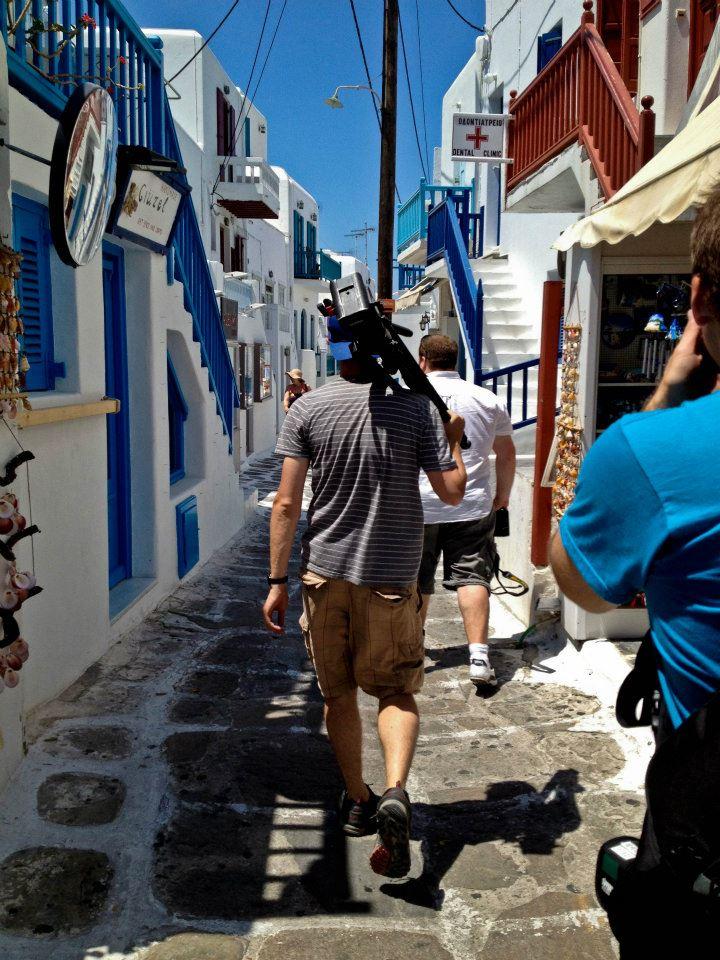 Filming in the streets of Mykonos, Greece
