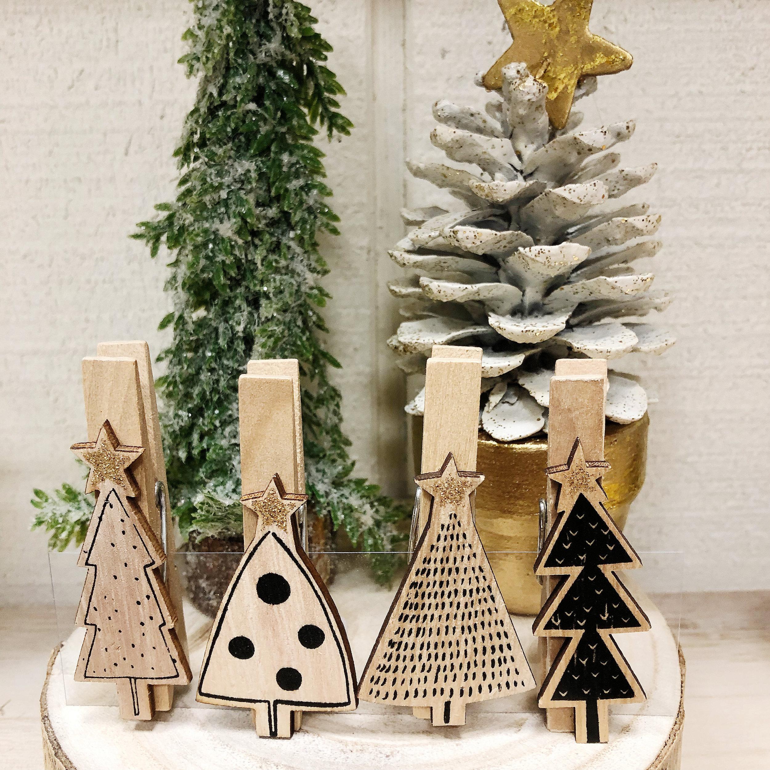 Christmas Trees Wooden Clothespins Recreateu
