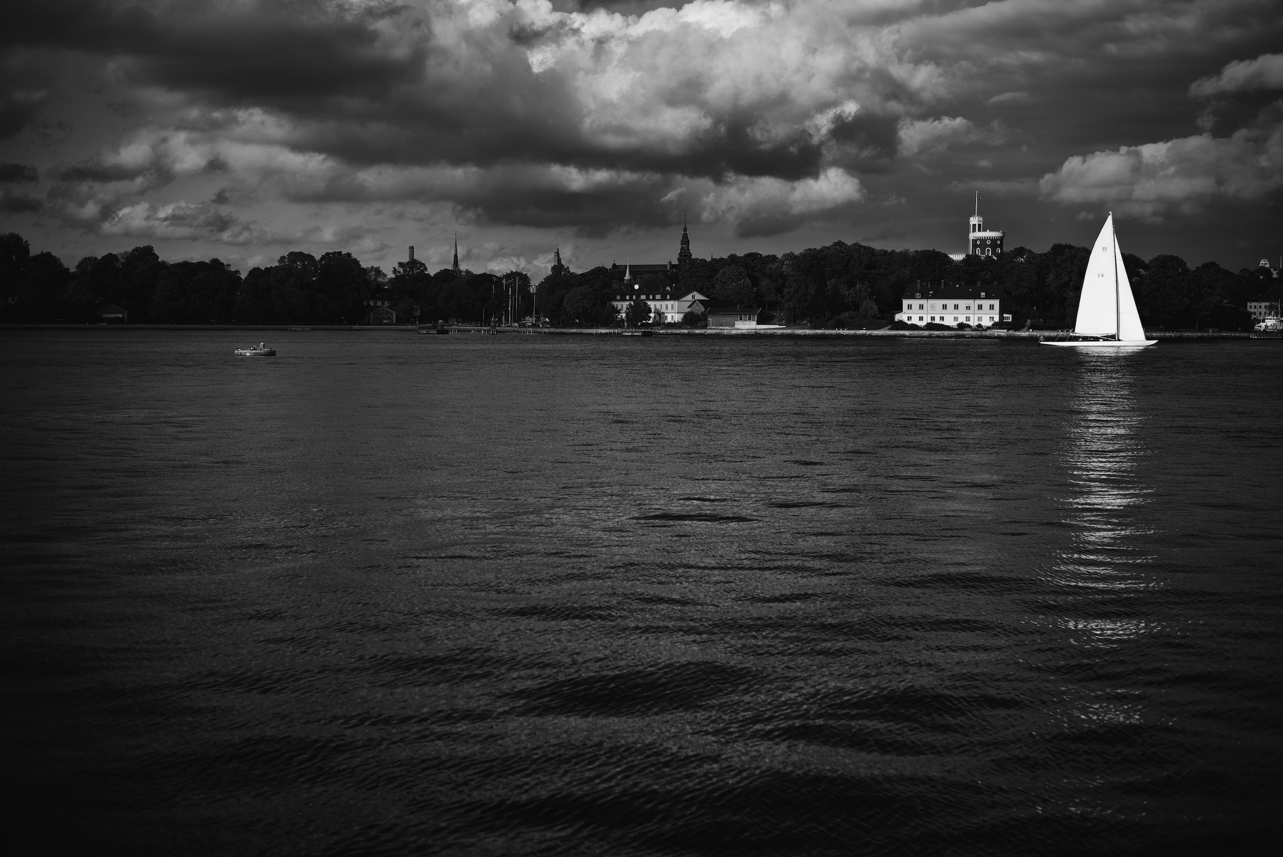 After a visit to the photography museum in Stockholm, Fotografiska, we looked out over the water at this scene.