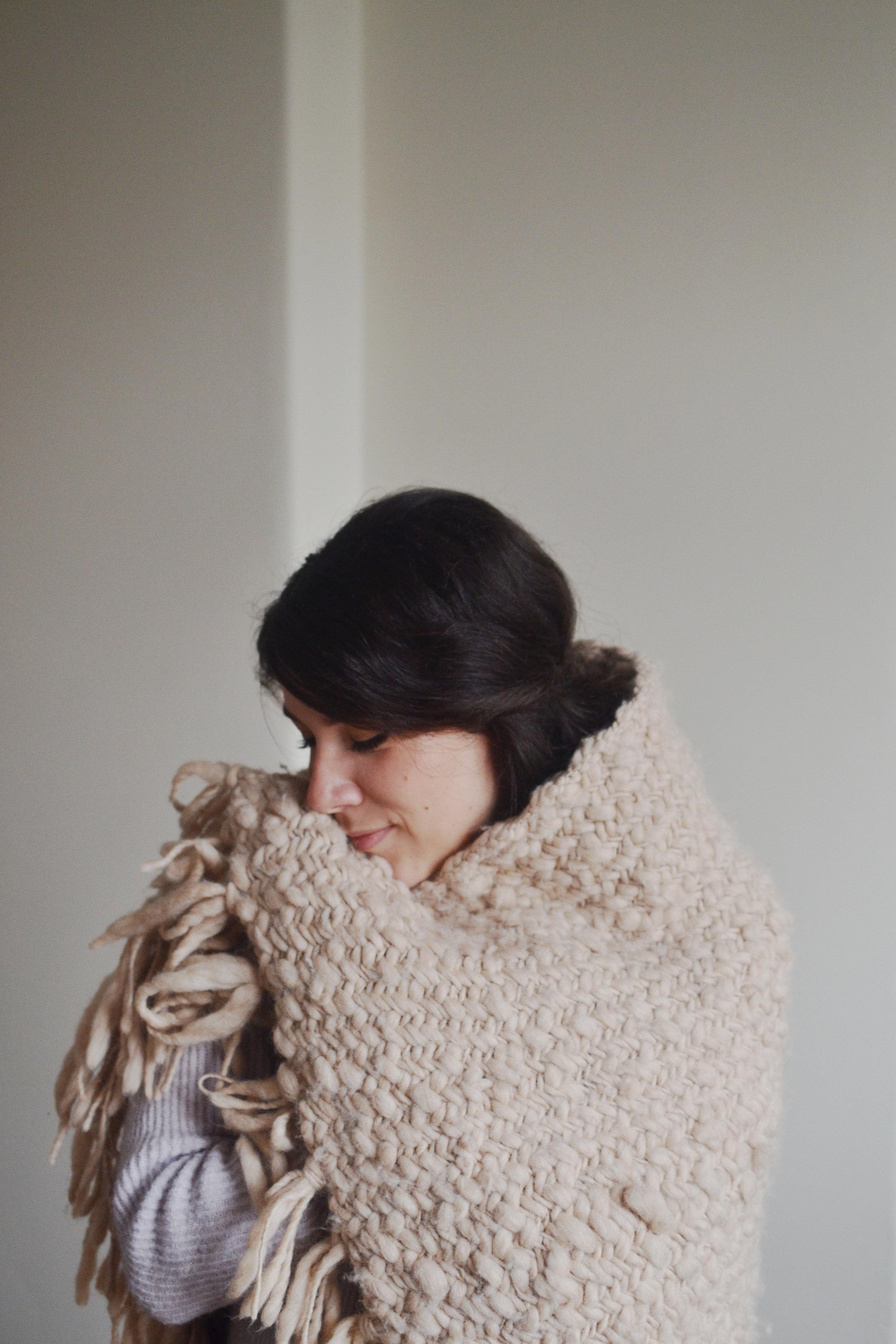 Knit collage sister yarn chunky herringbone blanket