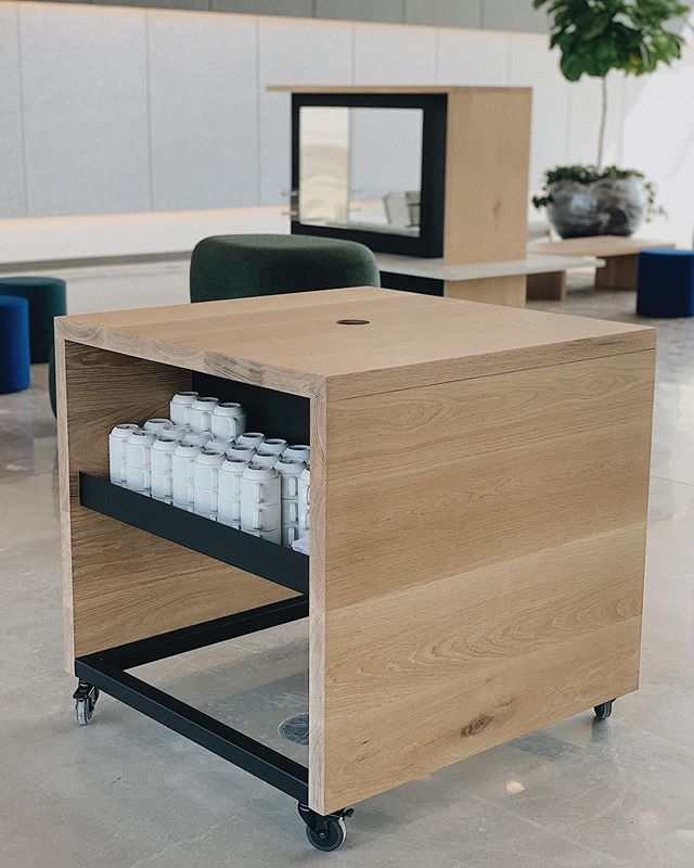Coffee cart and freestanding ethanol fireplace in white oak for @studioilla.